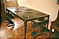Steel Dining Table with Japanese Symbols
