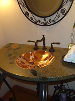 "Integrated Copper ""Crenelated""Sink with Mirror Polish"